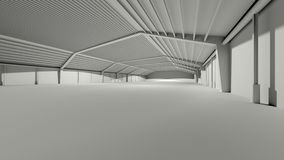 Big grey gray 3D hall warehouse deposit Royalty Free Stock Photos