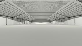 Big grey gray 3D hall warehouse deposit Stock Photos