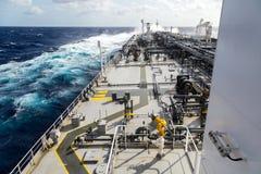 Big grey oil tanker underway in the open sea. Stock Image