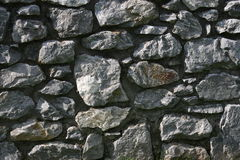 Big grey stones. Traditional way of building stone walls in Ireland, crushed flat stones from a rock, on flat, mortar hidden at the back Royalty Free Stock Photography