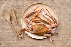 Big grillde crab. Big grilled crab, seafood on wood dish Stock Photo
