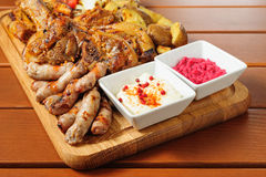 Big grilled meat and vegetables board Royalty Free Stock Image