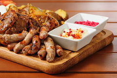 Big grilled meat and vegetables board Stock Image