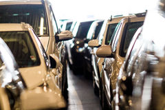 Big group of cars standing in line Royalty Free Stock Image