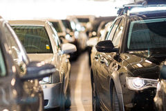 Big group of cars standing in line Royalty Free Stock Photography