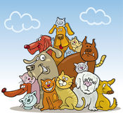 Big group of cats and dogs. Vector illustration of big group of cats and dogs on blue sky