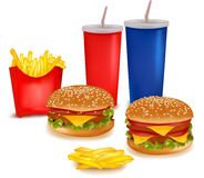 Big group of fast food products. Royalty Free Stock Photos