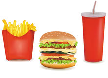 Big group of fast food products. Stock Images