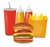 Big group of fast food products. Stock Photos