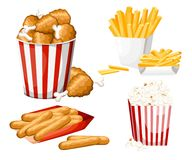 Big group of fast food products. Vector illustration isolated on white background. Set of cheese stick, popcorn, french fries, fri. Ed chicken in strip bucket Stock Images