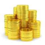 Big group of golden coin stacks Stock Photos