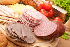 Big group of meat, bread and vegetables stock images