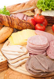 Big group of meat, bread and vegetables Stock Photo