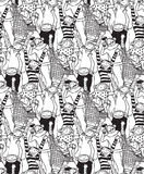 Big group monkey seamless black and white pattern Stock Images
