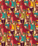 Big group monkey seamless color pattern Royalty Free Stock Photos