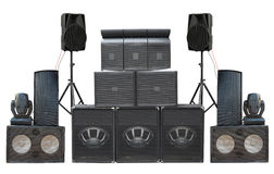 Big group of old industrial powerful stage sound speakers isolat Stock Photo