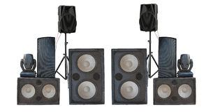Big group of old industrial powerful stage sound speakers isolat Royalty Free Stock Photography
