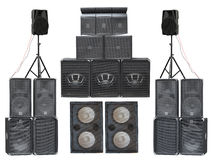 Big group of old industrial powerful stage sound speakers isolat Royalty Free Stock Photos