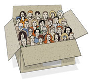 Big group of people in the box. Royalty Free Stock Photography