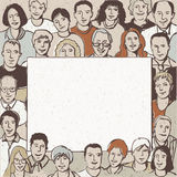 Big group people with empty banner royalty free illustration