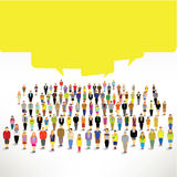 A big group of people gather and talk together. Design stock illustration