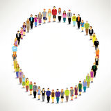 A Big Group of People Gather Together. In Circle Shape Vector Design stock illustration