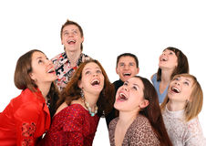 Big group of people looking up. stock photography