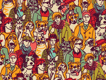 Big group people and pets color seamless pattern Stock Photos