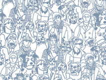 Big group people and pets gray seamless pattern Stock Image