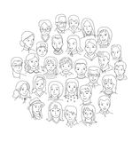 Big group of people round concept. Social network, world diversity and connection concept, Thin line sketch style vector Stock Images