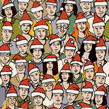 Big group people in Santa hats seamless pattern vector illustration