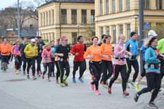 Big group of runners in the Stockholm. Stock Photo