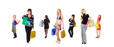 Big group of shopping girls Royalty Free Stock Image