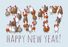 Big group sign chicken new year greeting card. Stock Image