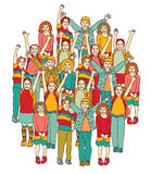 Big group of smiling happy children isolate on white Royalty Free Stock Photo