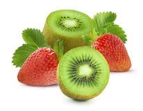 Big group of strawberry and kiwi  on white background Stock Image