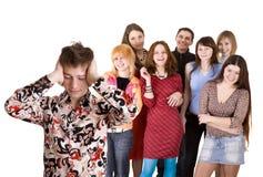 Big group of teenager. Problem. Stock Photos