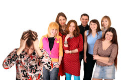 Big group of teenager. Problem. Royalty Free Stock Image