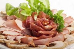 Big group of thinly sliced meat Stock Photos