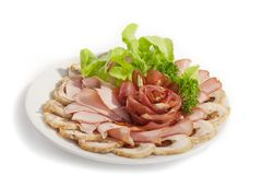Big group of thinly sliced meat Stock Image