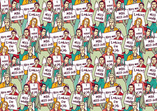 Big group unemployment business people color seamless pattern. Stock Photos