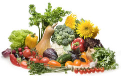 Big group of vegetable food objects Royalty Free Stock Images