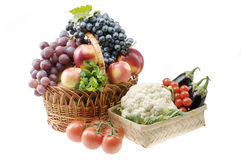 Big group of vegetable and fruit food objects. Over white background Royalty Free Stock Photos