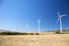Big group of wind power mills Royalty Free Stock Photo