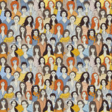 Big group woman seamless pattern Royalty Free Stock Photo
