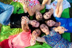 Big group of young girls Stock Image
