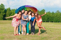 Big group of young girls Stock Images
