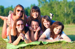 Big group of young girls Royalty Free Stock Image