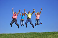 Big group of young jumping people royalty free stock photo