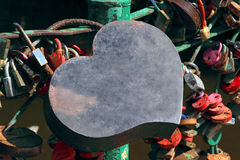Big grunge heart shape lock of romance love taken closeup. Royalty Free Stock Photos